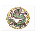 Medallón del dragón tarjeta postal