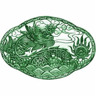Medallón del dragón verde de jade pin fotoescultura