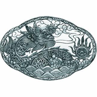 Medallón del dragón verde de la turquesa pin fotoescultura