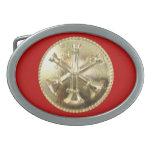 Medallón del oro del bugle del bombero 3 hebillas de cinturon ovales