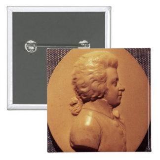 Medallón del retrato de Wolfgang Amadeus Mozart Pin Cuadrado
