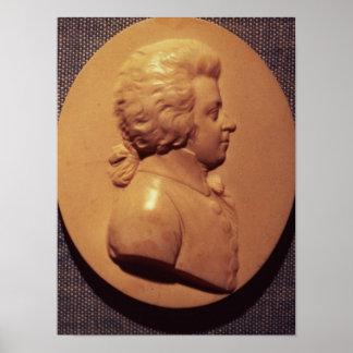 Medallón del retrato de Wolfgang Amadeus Mozart Póster