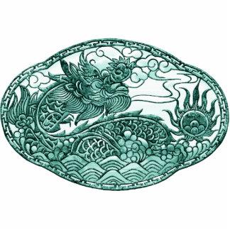 Medallón esmeralda del dragón verde pin fotoescultura