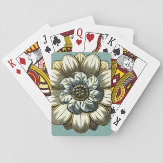 Medallón floral adornado en fondo azul claro baraja de póquer
