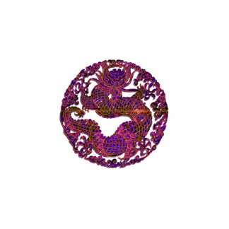 Medallón fucsia del dragón pin fotoescultura