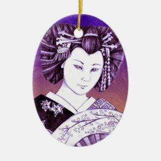 Medallón Geisha Abanico Ceramic Ornament