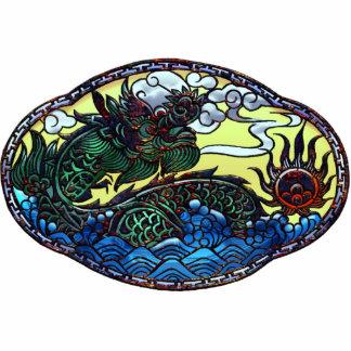 Medallón japonés del dragón pin fotoescultura