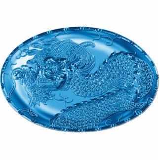 Medallón metálico azul eléctrico del dragón pin fotoescultura