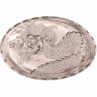 Medallón metálico color de rosa nacarado del pin fotoescultura