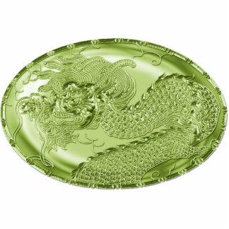 Medallón metálico del dragón de la verde lima pin fotoescultura