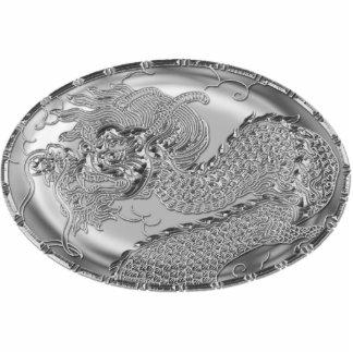 Medallón metálico del dragón del gris de acero pin fotoescultura