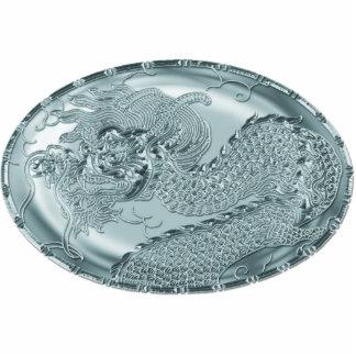 Medallón metálico del dragón del trullo brillante escultura fotográfica