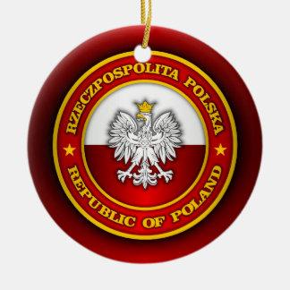 Medallón polaco adorno navideño redondo de cerámica