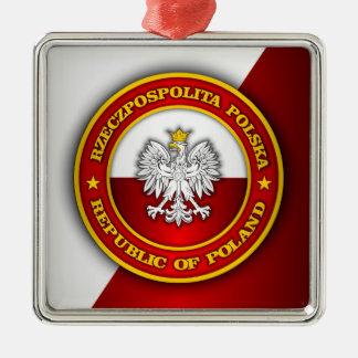 Medallón polaco adorno cuadrado plateado