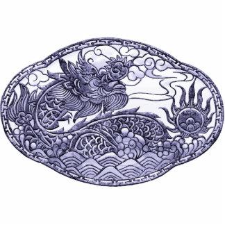 Medallón púrpura del dragón de la lavanda pin fotoescultura