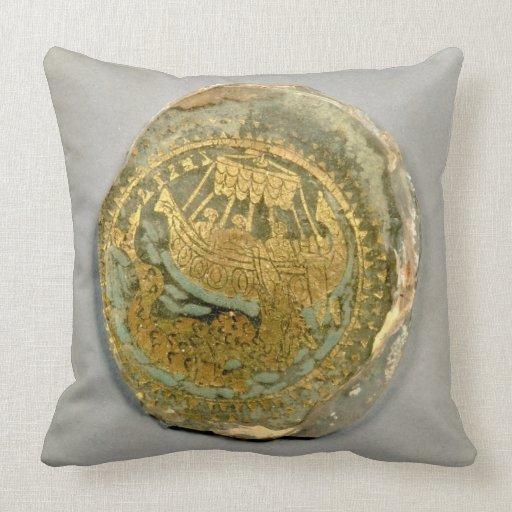 Medallón que representa Jonah y la ballena, romana Cojin
