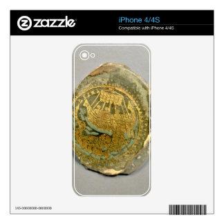 Medallón que representa Jonah y la ballena, romana iPhone 4 Calcomanías