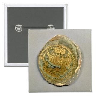 Medallón que representa Jonah y la ballena, romana Pin Cuadrado