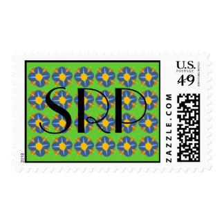Medallones azules de la flor timbres postales