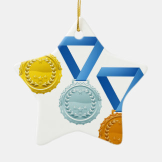 Medals Double-Sided Star Ceramic Christmas Ornament
