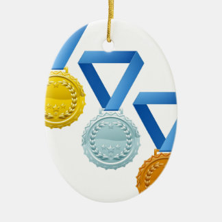 Medals Double-Sided Oval Ceramic Christmas Ornament