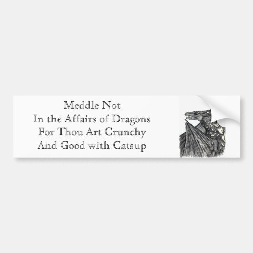 Meddle Not In the Affairs of Dragons Car Bumper Sticker