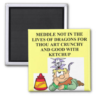 meddle not with fantasy dragons proverb refrigerator magnets