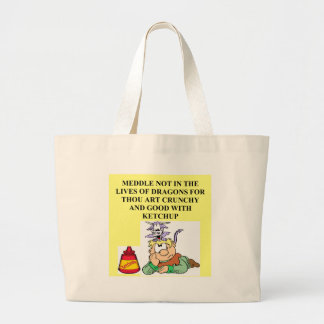 meddle not with fantasy dragons proverb tote bags