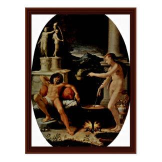 Medea And Jason Oval By Macchietti Girolamo Post Card
