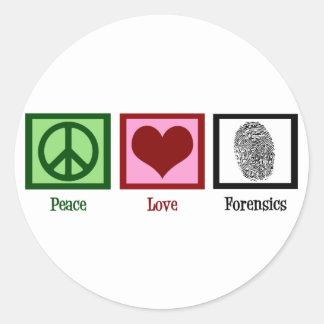 Medecina legal del amor de la paz pegatina redonda