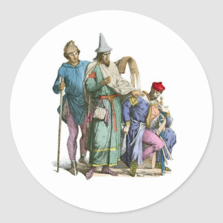 Medeival Jew and Knight - Period Costumes Classic Round Sticker