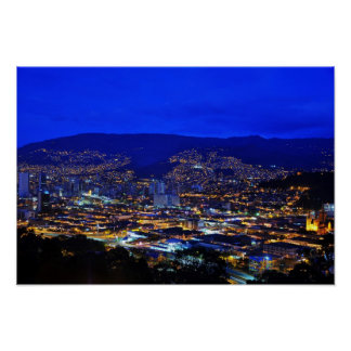Medellin, Colombia at Night Print