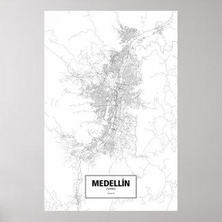 Medellín, Colombia (negro en blanco) Póster
