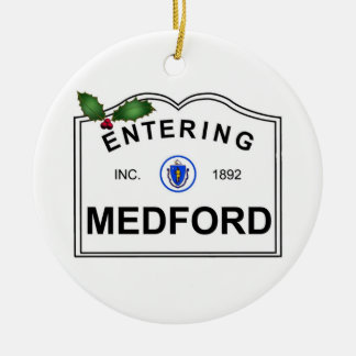 Medford MA Double-Sided Ceramic Round Christmas Ornament
