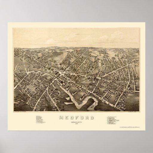 Medford, MA Panoramic Map - 1880 Poster