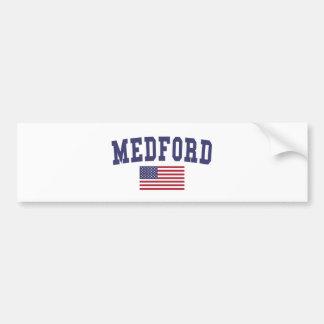 Medford MA US Flag Bumper Sticker