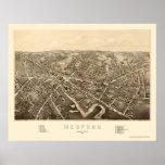 Medford, mapa panorámico del mA - 1880 Póster