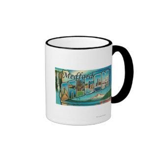 Medford, Oregon - Large Letter Scenes Ringer Coffee Mug