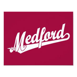 Medford script logo in white card