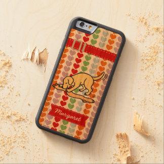 Media amarilla personalizada de Labrador Funda De iPhone 6 Bumper Cerezo