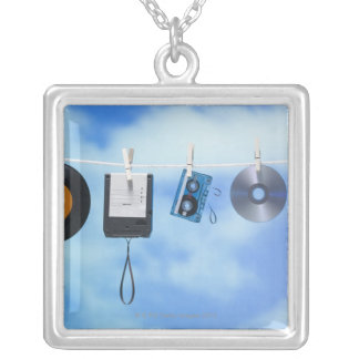 Media Clothesline Silver Plated Necklace