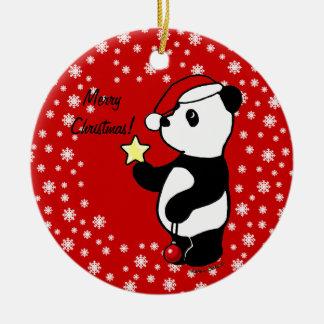 Media de la panda del navidad adorno navideño redondo de cerámica