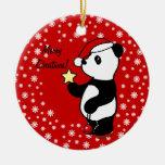 Media de la panda del navidad adorno redondo de cerámica