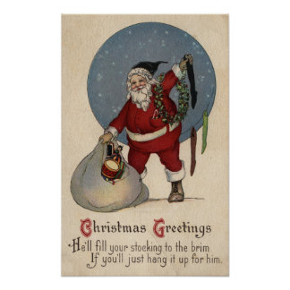 Media de relleno de Santa al borde Póster