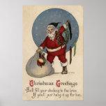 Media de relleno de Santa al borde Posters