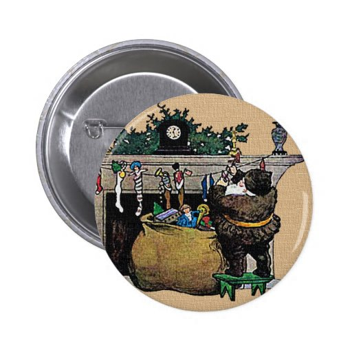 Media de Santa del vintage del navidad e insignia  Pin