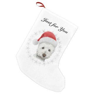 Media del arte del perro de Westie del navidad Calcetín De Navidad Pequeño