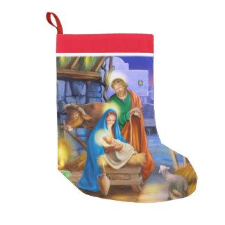 Media del día de fiesta de la natividad calcetín de navidad pequeño