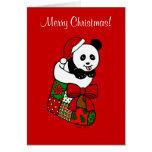 Media del dibujo animado de la panda del navidad felicitación