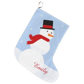 Media del muñeco de nieve calcetín de navidad grande